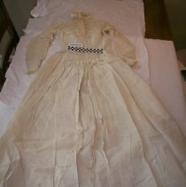 Image of Back of victorian cotton linen dress