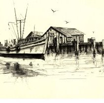 Image of Shrimp boat at dock - Painting