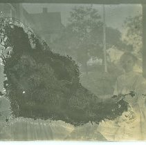 Image of Marian Davis Klotz, Thelma Roux on porch