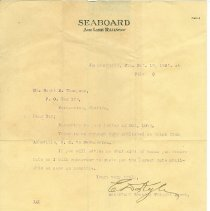 Image of A letter to Scott M. Thompson from Assistant General Freight Agent.  - Letter