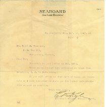Image of Seaboard Railway letter to Scott M. Thompson