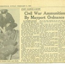 Image of Newspaper Clipping about ammunition recovered at Fort Clinch - Clipping, Newspaper
