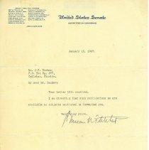Image of Letters to J. W. Decker from U.S. Senator Duncan U. Fletcher - Letter