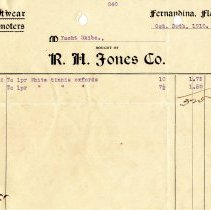 Image of Bill of sale from R. H. Jones Co. to Yacht Skibo - Bill