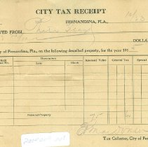 Image of City Tax receipt # 385  dated 10/23/1916