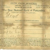 Image of A receipt from the First National Bank of Fernandina