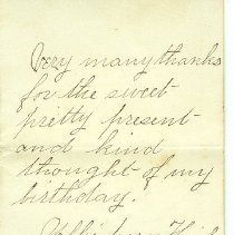 Image of Thank-you note to W.N. Thompson from Nellie Avery Hicks w/ envelope  - Note
