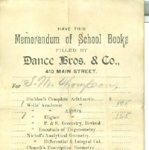 Image of Schoolbook list for Scott Thompson at Dance Bros. & Co.