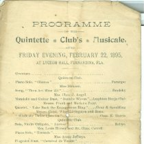 Image of Program for a concert at Lyceum Hall, Fernandina, on Feb. 22, 1895 presented by Quintette Club. - Program, Concert