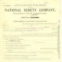 Image of Blank application for surety bond in favor of Florida Central and Peninsular R. R. Co. by National Surety Company, Kansas City, Missouri. Three copies in condition ranging from poor to good. Best copy is stored as Image. - Application