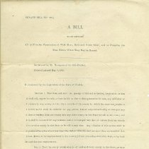 Image of Senate Bill Introduced by W. N. Thompson of 16th District, dated May 9, 1895 regulating game animal preservation, hunting, and selling of game meat. Two copies, (a) and (b). - Bill, Legislative