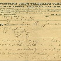 Image of Telegram from H. R. Duval to W. N. Thompson re: Thompson's accident and awaiting advice from Captain Maxwell. - Telegram