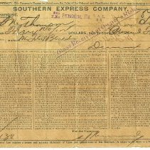 Image of Receipt for (and contract to carry) merchandise given to S. M. Thompson by Southern Express Co. dated August 4, 1910.   - Receipt