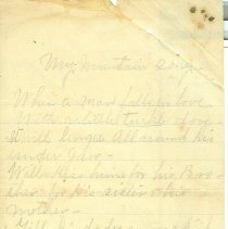 "Image of Poem ""My Mountain Song"", unknown date, unknown author, five verses on four sides of three pages of lined note paper. Handwritten in pencil, about a man in love seeking a kiss. - Poem"