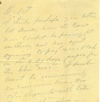 Image of Note to W.N.T. (W. N. Thompson) from D.E.W. recommending that he let Bucki have the (freight?) cars apparently in question. - Note