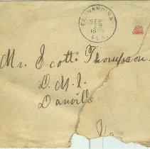 Image of Envelope addressed to Scott Thompson, Danville VA, Postmarked by postoffices in Fernandina and Danville, Va. - Envelope