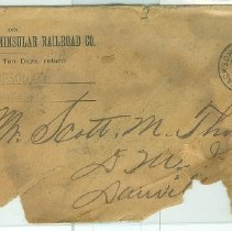 Image of Envelope addressed from W. N Thompson, F.C.&P.R.R.Co., in Jacksonville to Scott M. Thompson, D.M.I., Danville, Va. - Envelope