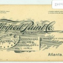 Image of Advertising Card of The Tripod Paint Co., Atlanta, Ga. - Card, Advertising
