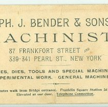Image of Advertising card of Bender & Sons, Machinists, NYC