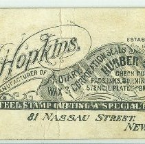 Image of Advertising card of H. Hopkins Manufacturer of Notary Stamps, NYC