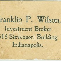 Image of Business Card of Franklin P. Wilson, Investment Broker, Indianapolis