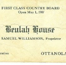 Image of Beulah House business card, Samuel Williamson prop.