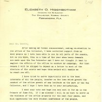 Image of Campaign letter to J. Decker from Elizabeth O. Higginbotham - Letter, Form