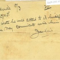 Image of Note from Jas. Veit in Ellaville to W.N.T. (William Naylor Thompson) 10/031891 2 pm - Note