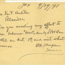 Image of Note from W.N.Thompson, Treasurer, Jax, to Jas. Veit, Auditor, Ellaville, 9/29/1891. - Note