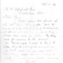 Image of Letter from Samuel D. Swann to N. A. Upchurch regarding his request for deeds of land sales. - Letter