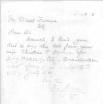 Image of Letter from S. D. Swann to Manuel Ferreira with deed for lot in the city purchased in the name of his wife, Christina C. Ferreira. - Letter