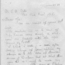 Image of Letter from S. D. Swann in reply to Mr. C. W. Yulee regarding a prior financial report and Mr. Hamilton, the tenant of an orange grove. - Letter