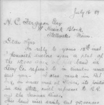 Image of Letter of reply from S. D. Swann to N. C. Ferguson, atty at Stillwater Minn.,  regarding timber land for sale in Levy Co. - Letter