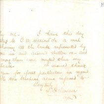 Image of Part of letter by S.D. Swann about land dispute. undated