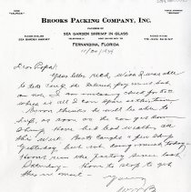 Image of Letter on Brooks Packing Company, Inc letterhead - Letter