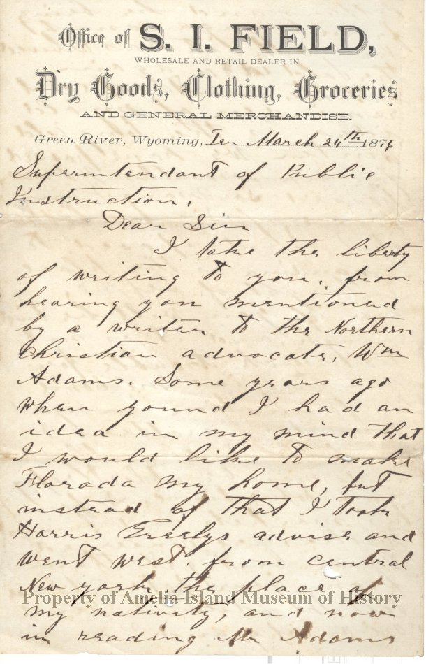 Letter from shop owner in Wyoming Territory to Superintendent of