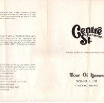 Image of Brochure for tour of Historic District homes on Dec. 6, 1975 with 2 tickets. - Brochure