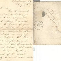 Image of Letter from Ella E. Cunningham of Binghamton, N.Y. to Nassau Co.Schools Superintendent Chas. W. Lewis asking about teaching jobs here. - Letter