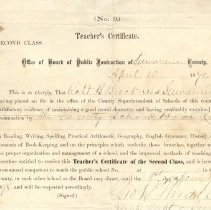 Image of Suwannee Co. Teacher's Certificate awared  04/10/1876
