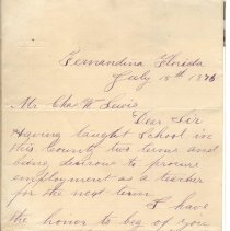 Image of Letter from teacher Floyd Wright to Supt. of Instruction Charles Lewis seeking employment for the next term in 1876. - Letter