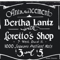 Image of Bertha Lantz with Loretto's Shop   - Print, Photographic