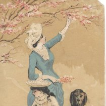 "Image of Bookmark with illustration of a woman and a girl outdoors looking at flowers with a brown dog nearby. ""Book Mark"" is inscribed in black ink on the back. - Bookmark"