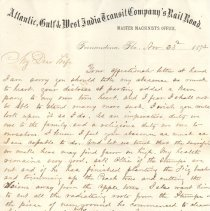 Image of Letter with railroad letterhead written by William P. Wylly to his wife in Ga. about the pain of living apart being a duty to the family and a religious duty to each other, also instructions to son, Ollie, and medicine for his father. - Letter