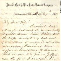 Image of Letter with Transit Co. letterhead written by William P. Wylly to his wife in Ga. about living alone in Fernandina, social gatherings and meal invitations - Letter
