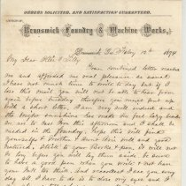 Image of Letter with Brunswick, Ga., foundry letterhead written by William P. Wylly and mailed from Fernandina to his son and daughter, Ollie and Lilly, in Patterson, Ga., thanking them for a letter to him. - Letter