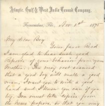 Image of Letter with Transit Co. letterhead written by William P. Wylly to his son in Ga. about Ollie's good behavior, instructions to practice penmanship and about plant care and school work. - Letter