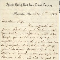 Image of Letter with Transit Co. letterhead written by William P. Wylly to his wife in Ga. about health, cold weather, death of son Ollie and a sick neighbor.