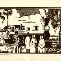 Image of Woodcut drawing of railroad engine and spectators, circa 19th century. - Print