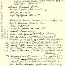 Image of Notes by Georgia Davis of an interview regarding collections of the Bordens - Note