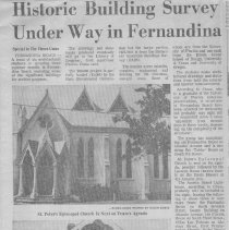 Image of Article on Historic Building Survey Under Way in Fernandina - Newspaper